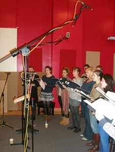Chapel Choir recording the songs for the website