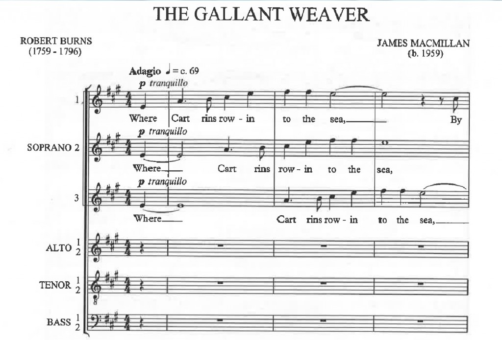 Opening bars of James MacMillan's 'The Gallant Weaver'