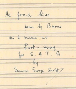 Title page of F. G. Scott's holograph manuscript of 'Ae Fond Kiss'