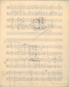 Final bars in draft copy of F. G. Scott's manuscript of 'Ae Fond Kiss'