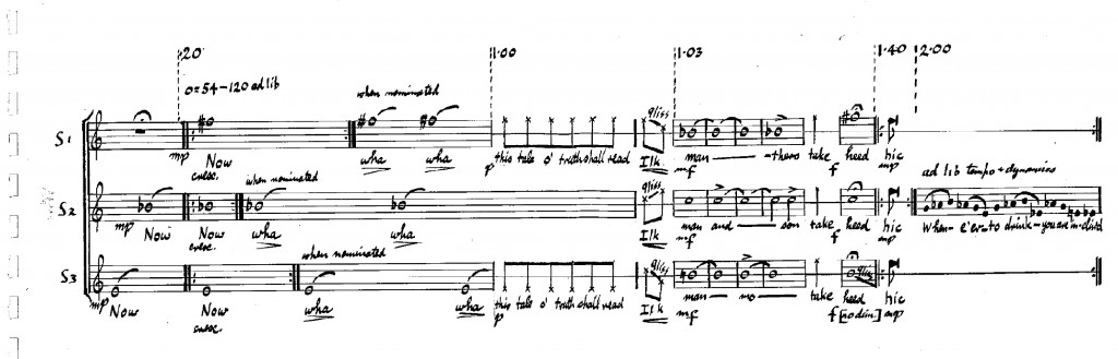 Handwritten score of the first few bars of Tommy Fowler's 'Tam's Moral'